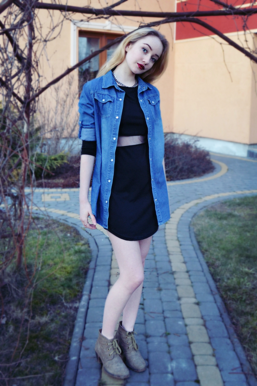 Black dress jean shirt - Women S Black Sheath Dress Blue Denim Shirt Grey Suede Lace Up Ankle Boots Silver Necklace Women S Fashion