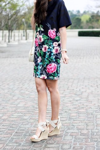 How to wear: black floral shift dress, beige elastic wedge sandals, white leather crossbody bag, gold watch