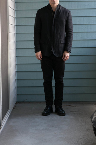 Black Shirt Jacket Outfits For Men: If the occasion calls for a polished yet killer look, try pairing a black shirt jacket with black chinos. A pair of black leather casual boots looks great finishing your look.