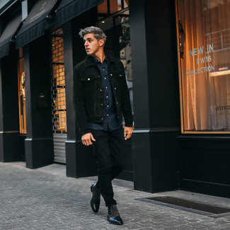 Silver Chelsea Boots Outfits For Men: Pairing a black suede shirt jacket and black chinos is a fail-safe way to breathe refinement into your daily outfit choices. Go off the beaten path and break up your getup by rocking a pair of silver chelsea boots.