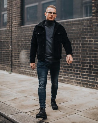 How to wear: black corduroy shirt jacket, charcoal turtleneck, navy skinny jeans, black suede casual boots