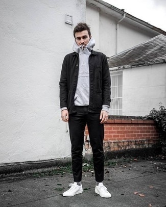 How to Wear a Grey Hoodie For Men: If you like the comfort look, choose a grey hoodie and black chinos. We adore how a pair of white canvas low top sneakers makes this look whole.