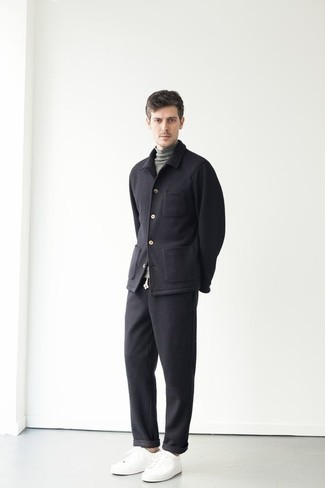 Grey Turtleneck Outfits For Men: A grey turtleneck and black wool chinos are an easy way to infuse effortless cool into your off-duty routine. Feeling experimental today? Shake up this ensemble by wearing a pair of white canvas low top sneakers.