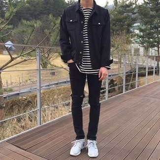 Black Notched Lapel Jacket
