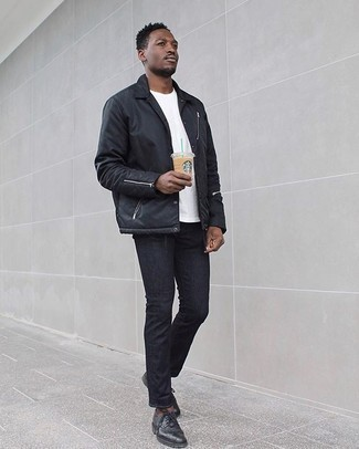 Black Jeans Spring Outfits For Men: Effortlessly blurring the line between sharp and relaxed, this pairing of a black nylon shirt jacket and black jeans can easily become your go-to. Want to break out of the mold? Then why not complement this outfit with black leather derby shoes? And if you're looking for a cool ensemble that transitions easily into spring, this one is great.