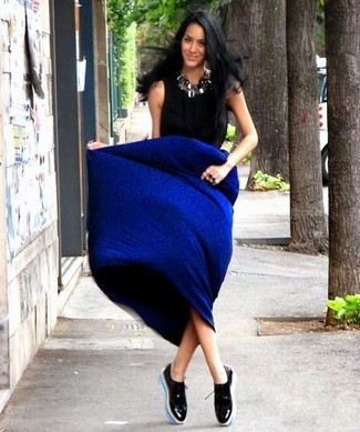 f45e0eb37 ... Women's Black Short Sleeve Blouse, Blue Maxi Skirt, Black Leather  Oxford Shoes, Silver