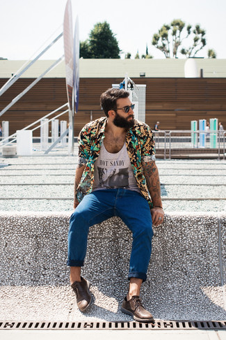 How to wear: black floral short sleeve shirt, grey print tank, blue jeans, brown leather derby shoes