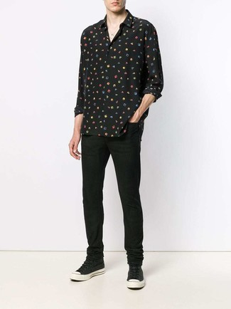 How to wear: black print silk long sleeve shirt, black jeans, black canvas high top sneakers