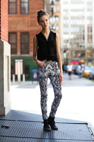 3826a3981f323 ... Women s Black Silk Sleeveless Button Down Shirt