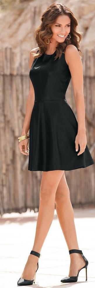 Black Skater Dress with Black Leather