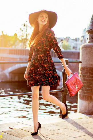 How to wear: black print skater dress, black suede pumps, red leather satchel bag, black wool hat