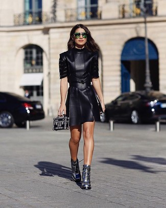 Topshop Tulisa Faux Leather Skater Dress f18ec2a3c