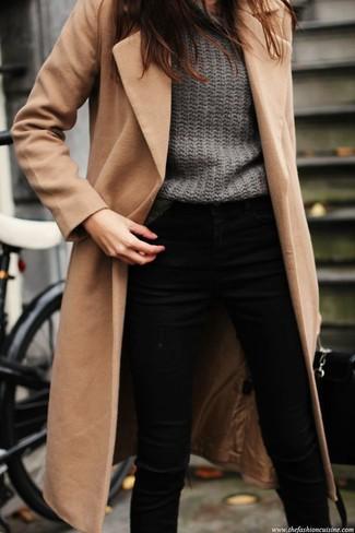 women 39 s black skinny jeans camel coat and grey oversized sweater lookastic for women. Black Bedroom Furniture Sets. Home Design Ideas