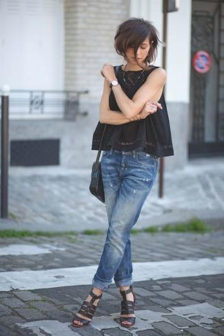 How to wear: black crochet sleeveless top, blue boyfriend jeans, black leather heeled sandals, black leather crossbody bag