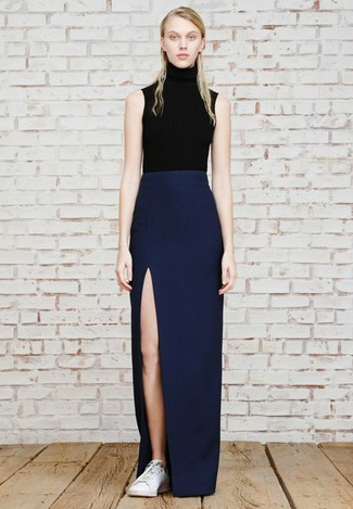 How to Wear a Navy Maxi Skirt (18 looks) | Women's Fashion