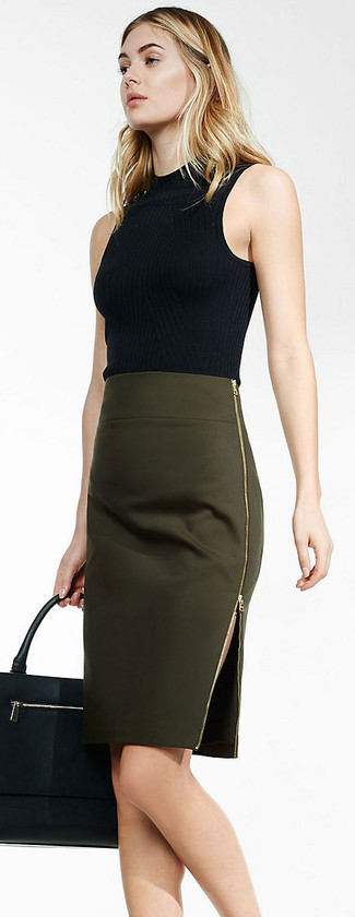 How to wear: black sleeveless turtleneck, olive pencil skirt, black leather tote bag