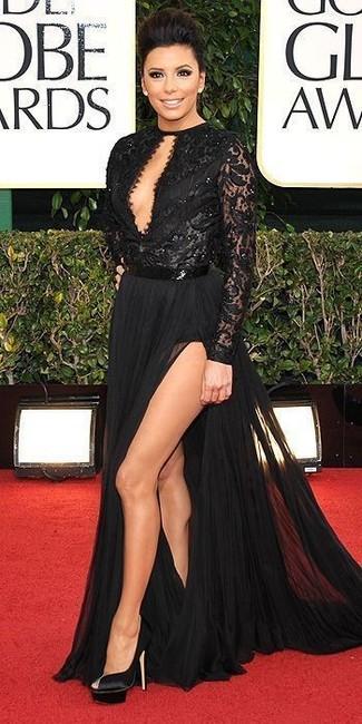 How to wear: black slit lace evening dress, black satin pumps