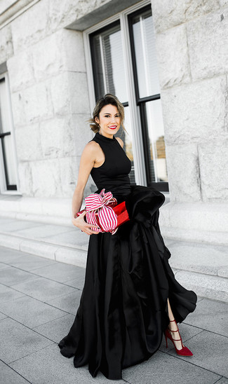 How to wear: black slit satin evening dress, red suede pumps