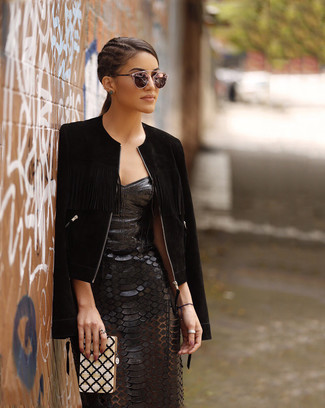 Leather Sheath Dress Outfits: This laid-back combination of a leather sheath dress and a black suede bomber jacket is a foolproof option when you need to look great in a flash.