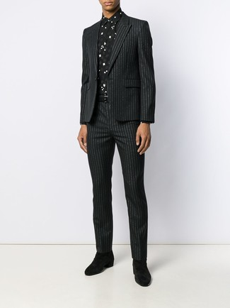 How to wear: black vertical striped suit, black and white print dress shirt, black suede chelsea boots, black leather belt