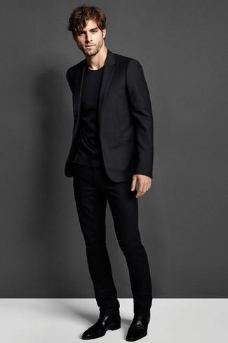 Men's Black Suit, Black Crew-neck T-shirt, Black Leather Oxford Shoes