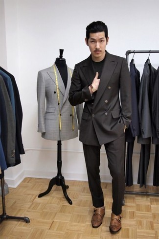 How To Wear a Black Suit With Brown Shoes: This smart casual pairing of a black suit and a black crew-neck t-shirt can take on different moods according to the way you style it out. To add some extra fanciness to your look, add brown leather double monks.
