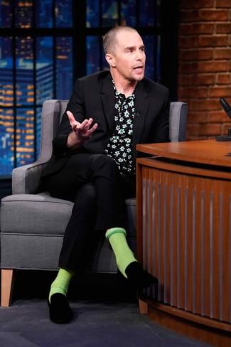Sam Rockwell wearing Black Suit, Black Floral Short Sleeve Shirt, Black Velvet Loafers, Green Socks