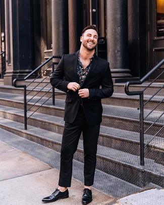 How to wear: black suit, navy floral dress shirt, black leather derby shoes