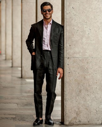 How to wear: black suit, pink long sleeve shirt, black leather loafers