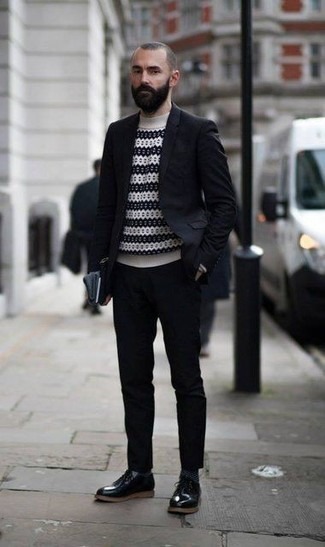 How to Wear Black Leather Derby Shoes: This combo of a black suit and a white and black horizontal striped turtleneck is a tested option when you need to look seriously dapper. If you feel like dressing up a bit, complement this outfit with black leather derby shoes.
