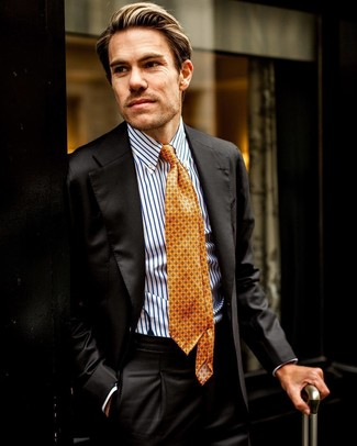 How to wear: black suit, white and blue vertical striped dress shirt, orange print tie