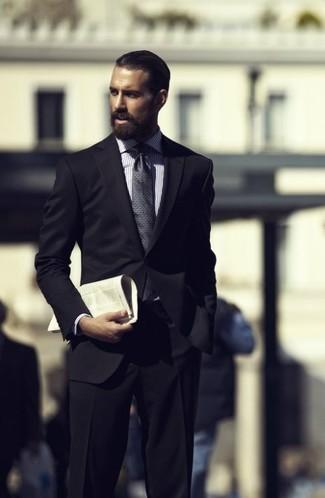 Men's Black Suit, White Check Dress Shirt, Charcoal Print Tie ...