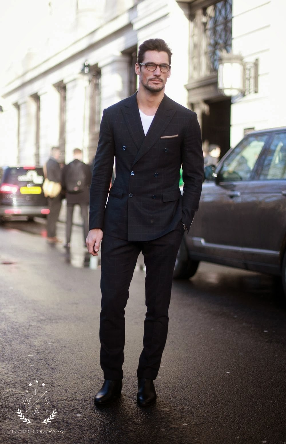 Black t shirt with suit - David Gandy Wearing Black Check Suit White Crew Neck T Shirt Black Leather Chelsea Boots Beige Pocket Square Men S Fashion