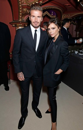 David Beckham wearing Black Suit, White Dress Shirt, Black Leather Derby Shoes, Black Tie