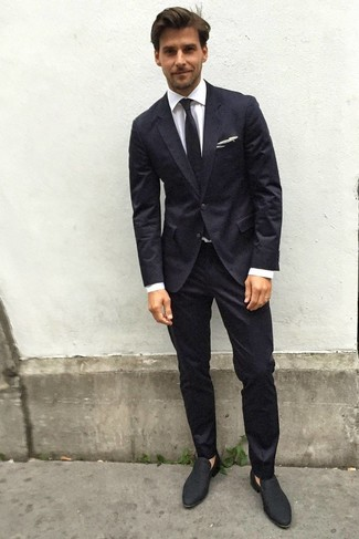 How to wear: black suit, white dress shirt, black suede loafers, black tie