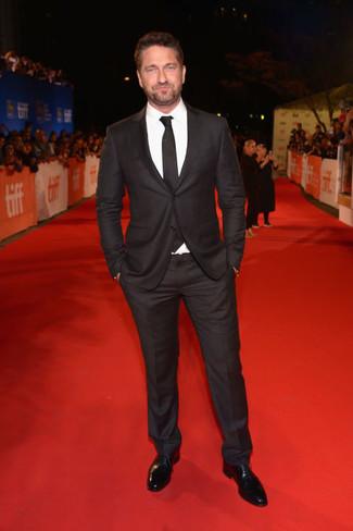 Black suit white dress shirt black oxford shoes large 22632