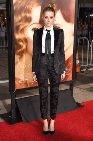 How to wear: black suit, white dress shirt, black suede pumps