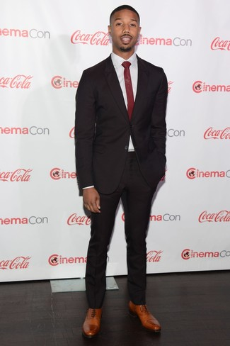 Michael B. Jordan wearing Black Suit, White Dress Shirt, Brown ...