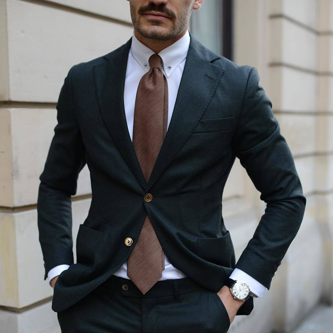 Men's Black Suit, White Dress Shirt, Brown Tie, Black Leather ...
