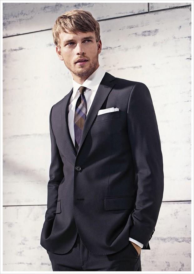 Men S Black Suit White Dress Shirt Violet Plaid Tie White Pocket
