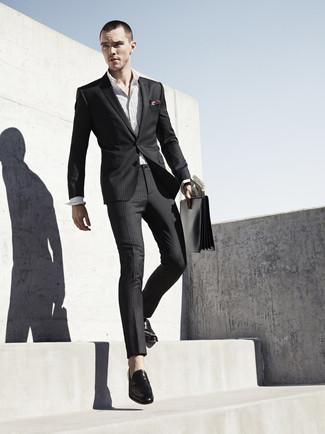 604f10ecb8a ... Nicholas Hoult wearing Black Vertical Striped Suit