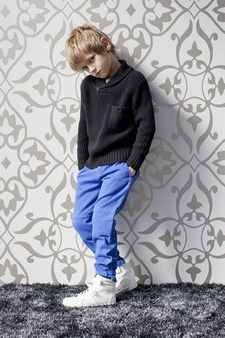 Boys' Black Sweater, Blue Trousers, White Sneakers