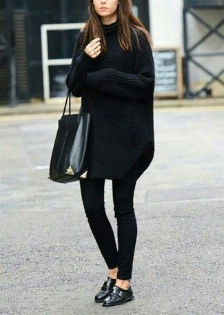 How to wear: black knit sweater dress, black skinny jeans, black leather double monks, black leather tote bag