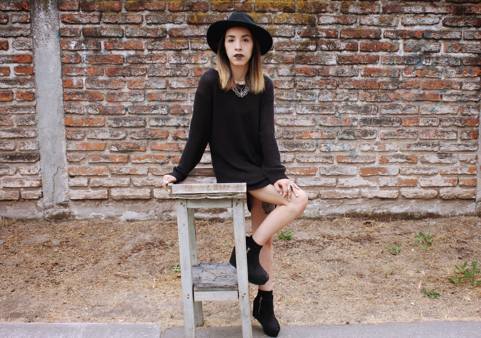 Women\'s Black Sweater Dress, Black Suede Wedge Ankle Boots, Black ...