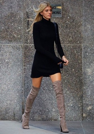 Sweater Dress with Wrap around Boots