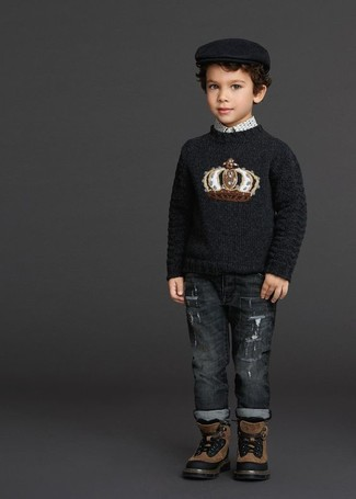 How to Wear Brown Boots For Boys: Your little guy will look extra cute in a black print sweater and charcoal jeans. Complement this look with brown boots.