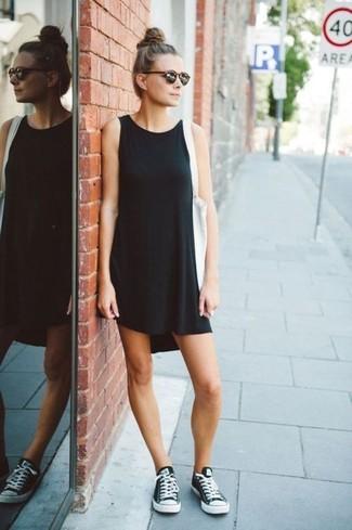 Petite Sleeveless Swing Dress With Turtleneck