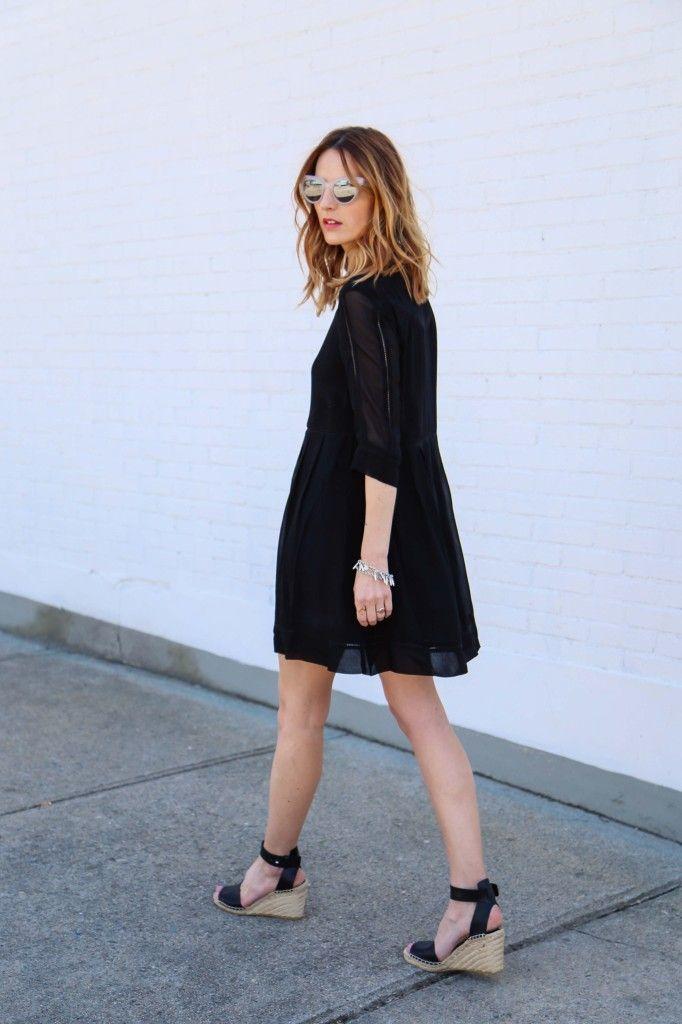 Women's' Black Swing Dress, Black Leather Wedge Sandals ...