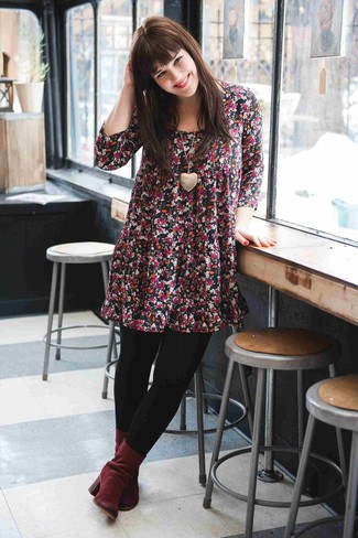 How to Wear Burgundy Suede Ankle Boots: Opt for a black floral swing dress for a daily look that's full of style and character. Complement this outfit with a pair of burgundy suede ankle boots for a touch of polish.