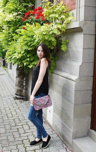 How to wear: black silk tank, blue ripped skinny jeans, black espadrilles, burgundy embroidered crossbody bag